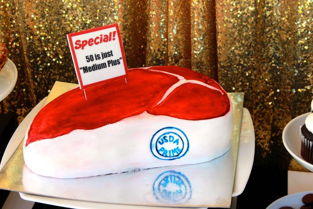 Ricks 50th   CatchMyParty.com steak cake sugar pearl bakery