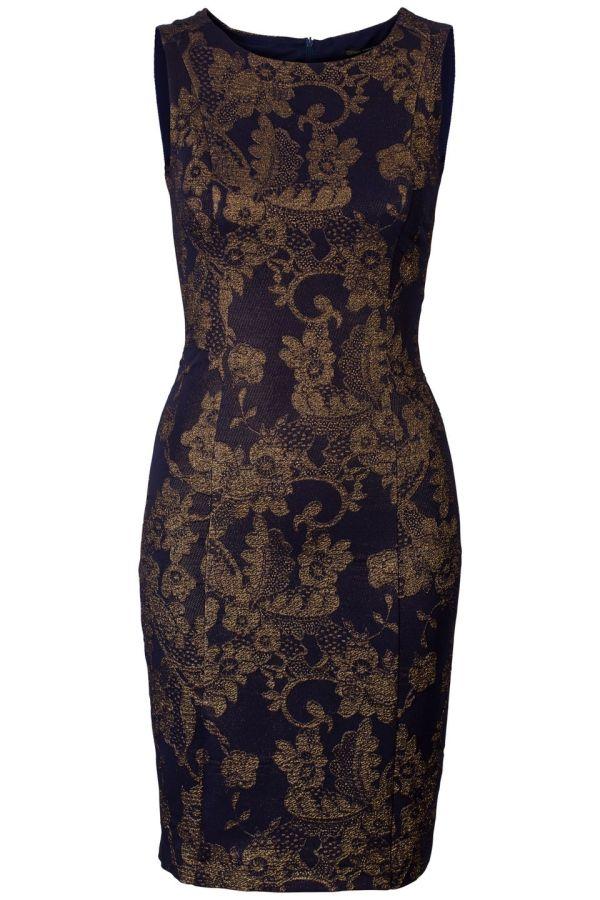 c8eff7008e355b Mouwloze jurk met jacquard Donker Paars