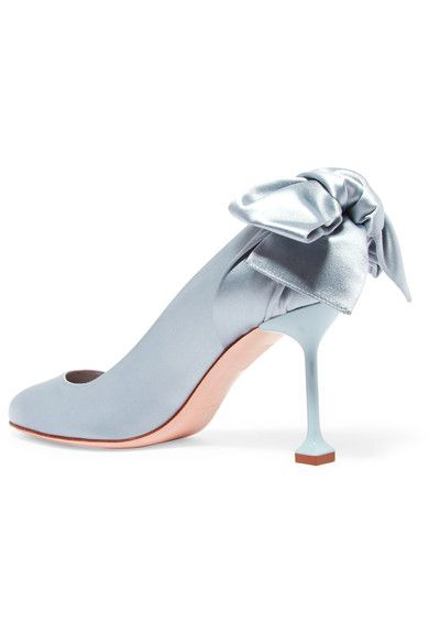 4048f6be7b14 Miu Miu - Bow-embellished Satin Pumps - Sky blue - IT38.5
