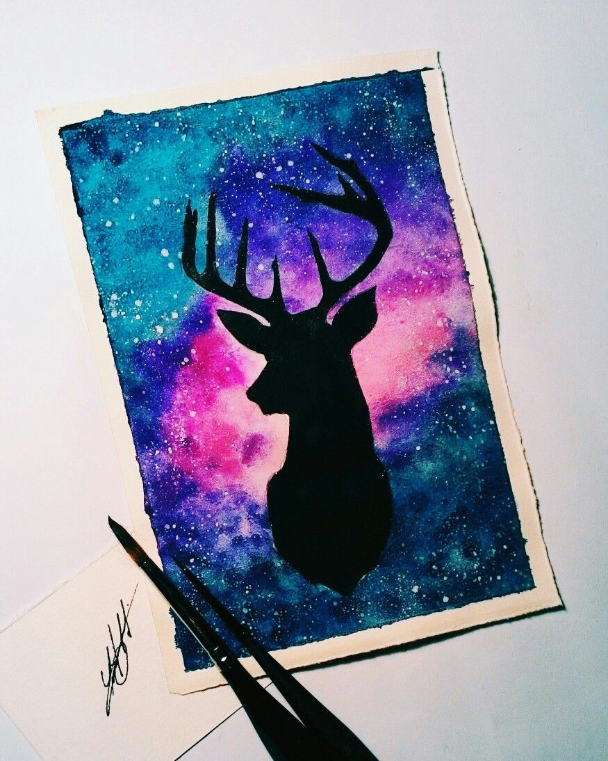 Deer Galaxie Watercolor Galaxy Painting Canvas Painting