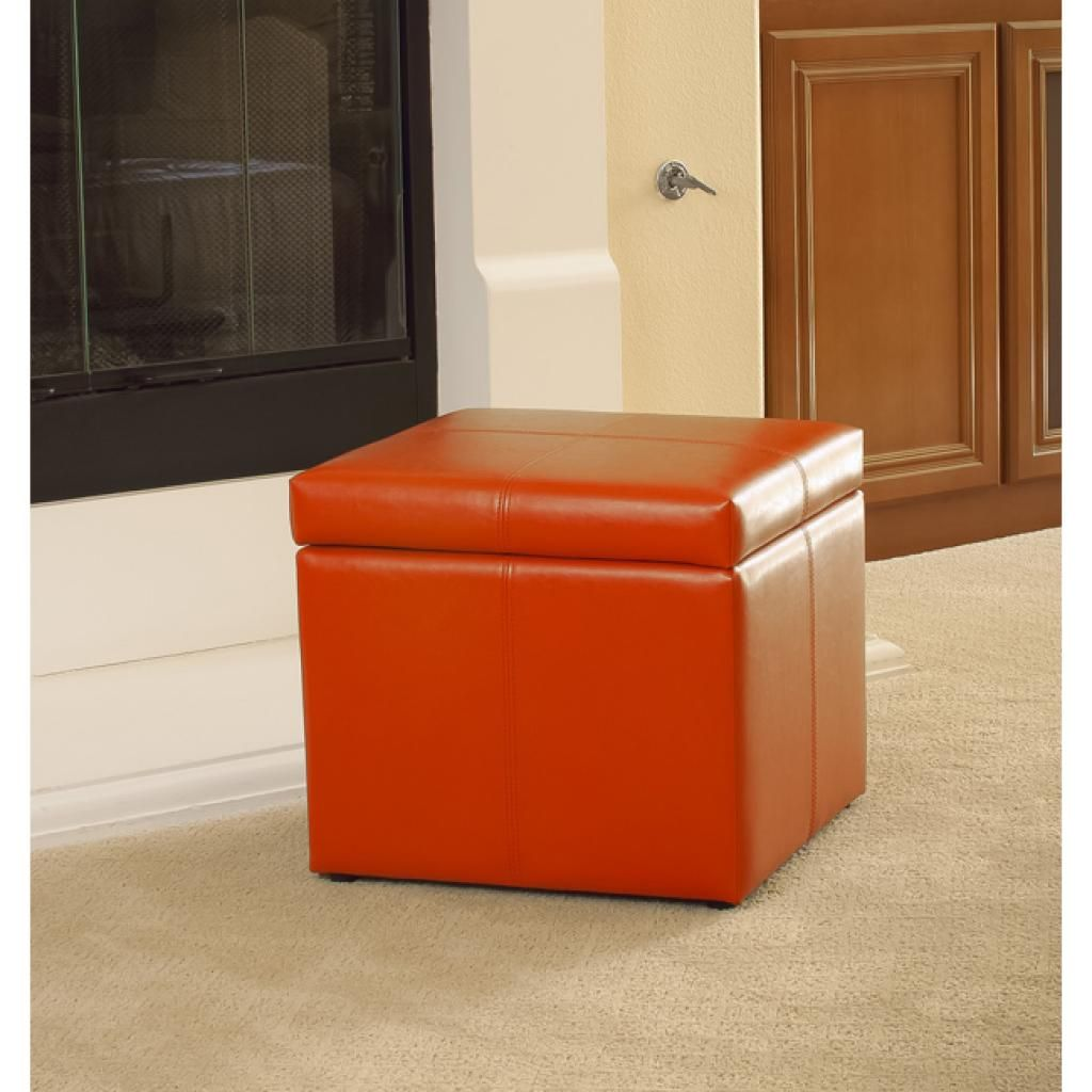 Best Orange Storage Ottoman Ottomans Storage and Table seating