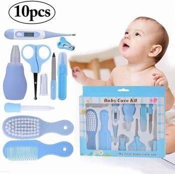 10pcs/set Baby Nail Set Portable Safety Nail Clipper Nail Care Products For Newborns Baby Health Care Nail Kit Hair Brush Set