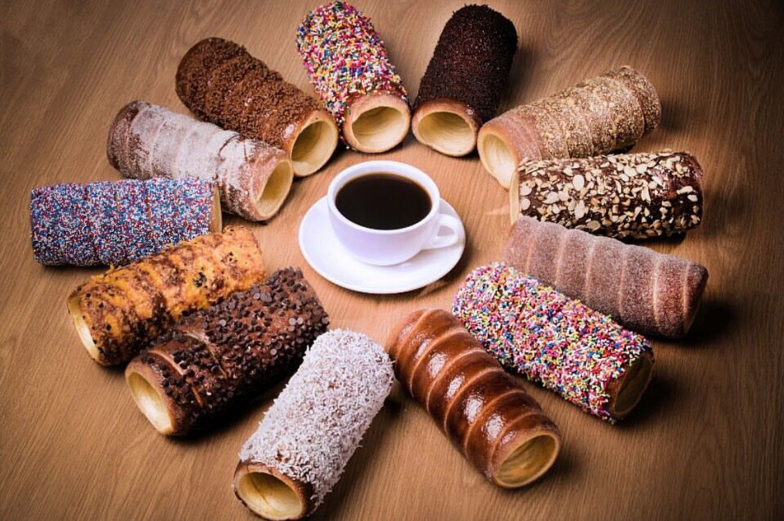 Chimney cake and coffee the perfect combination
