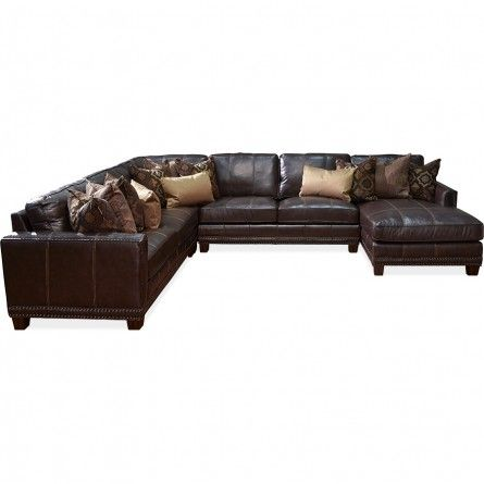 GABS Port Royal Brown Leather Match Sectional | Gallery ...