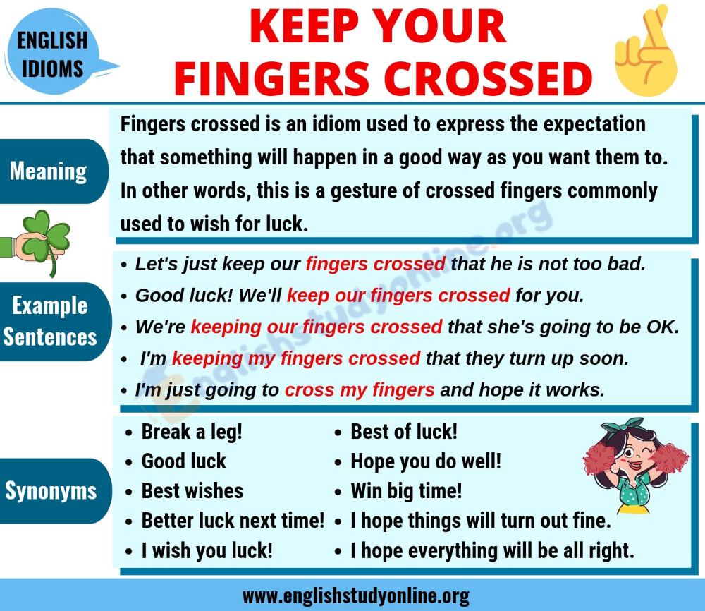Fingers Crossed Definition Useful Examples Synonyms List English Study Online Crossed Fingers English Study English Phrases Idioms