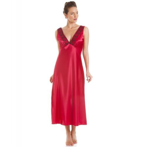 9cd18158d4 Camille Womens Nightwear Sleepwear Red Black Embroidery Satin Nightdress  Chemise