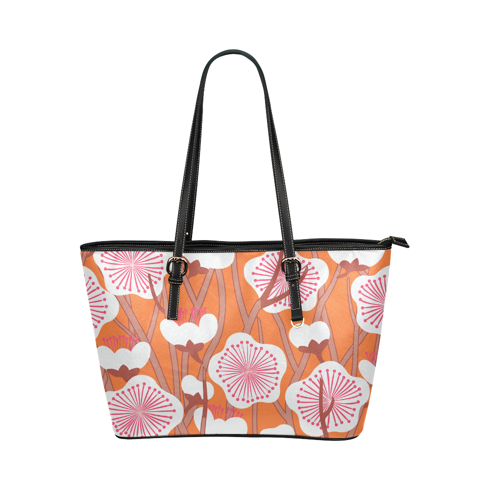Elegant white flowers on orange Zakka style floral pattern Leather Tote Bag/Large (Model 1651)