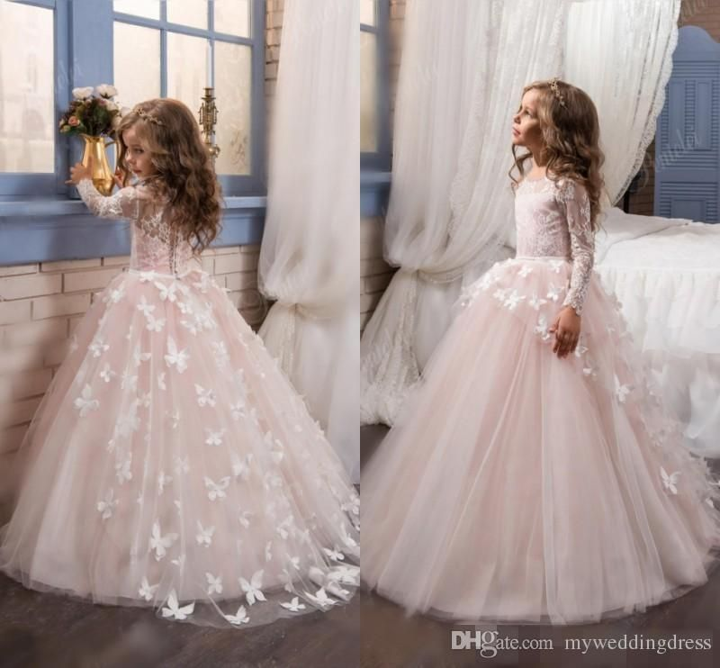 486891ee99947 2016 Cheap Lace Long Sleeves Pink Flower Girls Dresses For Weddings Tulle  Little Kids Girls First Communion Dresses Flowers Floor Length Flower Girl  Dresses ...