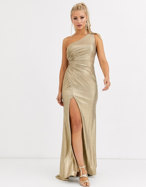 Secreto diario Hacia arriba  Forever Unique one shoulder ruched maxi dress with thigh split in gold |  ASOS | Ruched maxi dress, Latest fashion clothes, Fashion