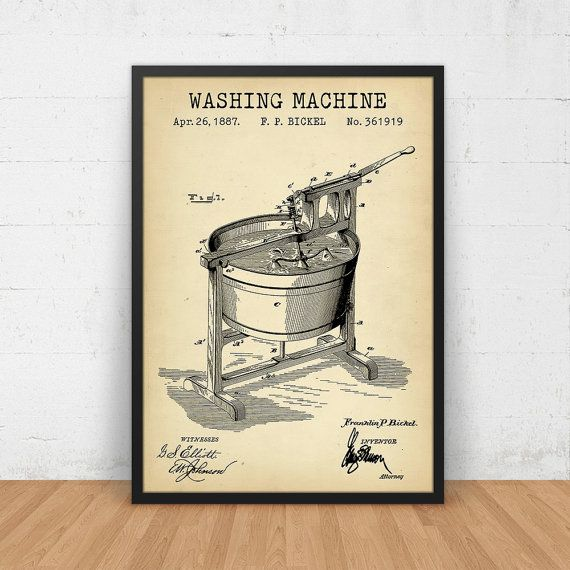 Laundry room decor vintage washing machine art washing machine laundry room decor vintage washing machine art washing machine patent printable digital download blueprint art laundry room poster print malvernweather Images