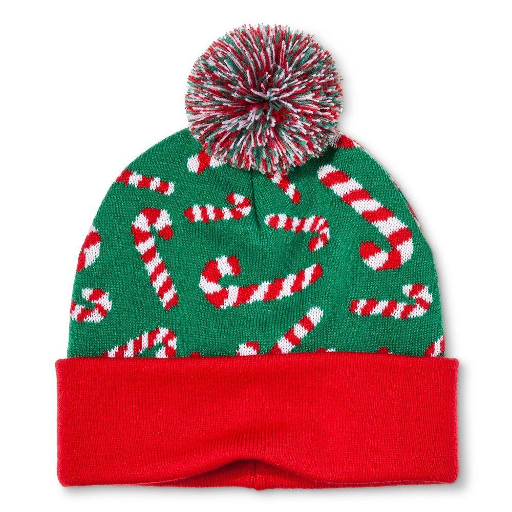 f8c1ebf91b1 Bioworld Candy Cane Knit Hat - Green Red One Size