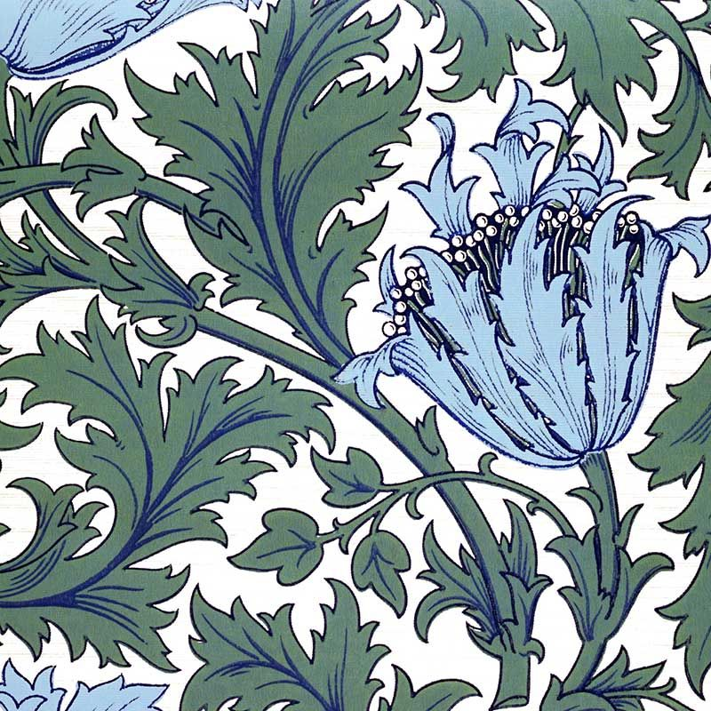 This is the one I was looking for, believe it or not. I have seen this done in various tones, so I'm searching for more green and gray as opposed to blue and teal. Will keep looking.  William Morris Anemone tile, sky blue