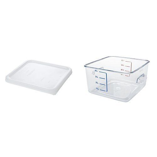 Rubbermaid Commercial Carb X E Saving Food Service Container 4 Quart Clear With White Lid Fg630400clr And Fg650900wht