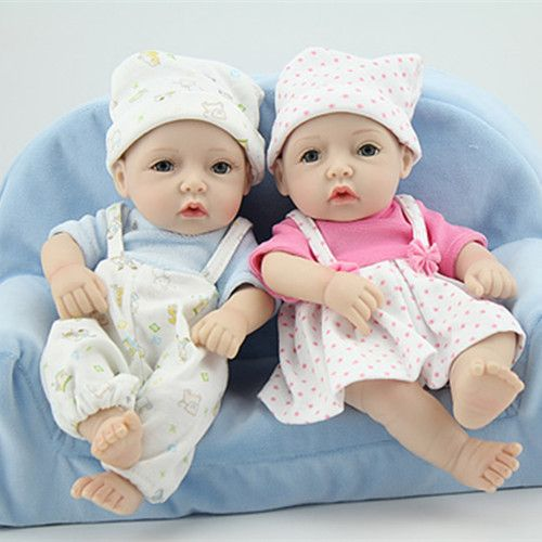 2pc set boy and girl 11 lifelike reborn new baby alive twins washable full silicone