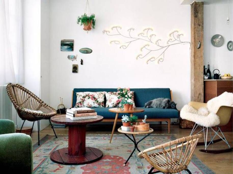 Living Room , Evocative Retro Living Room Ideas : Retro Living Room Ideas  With Mid Century Sofa And Rattan Side Chairs And Coffee Tables And Glider  Rocker