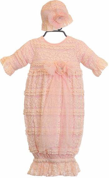 Cach Cach Infant Sac Gown with Lace Hat | Baby Girl Boutique ...