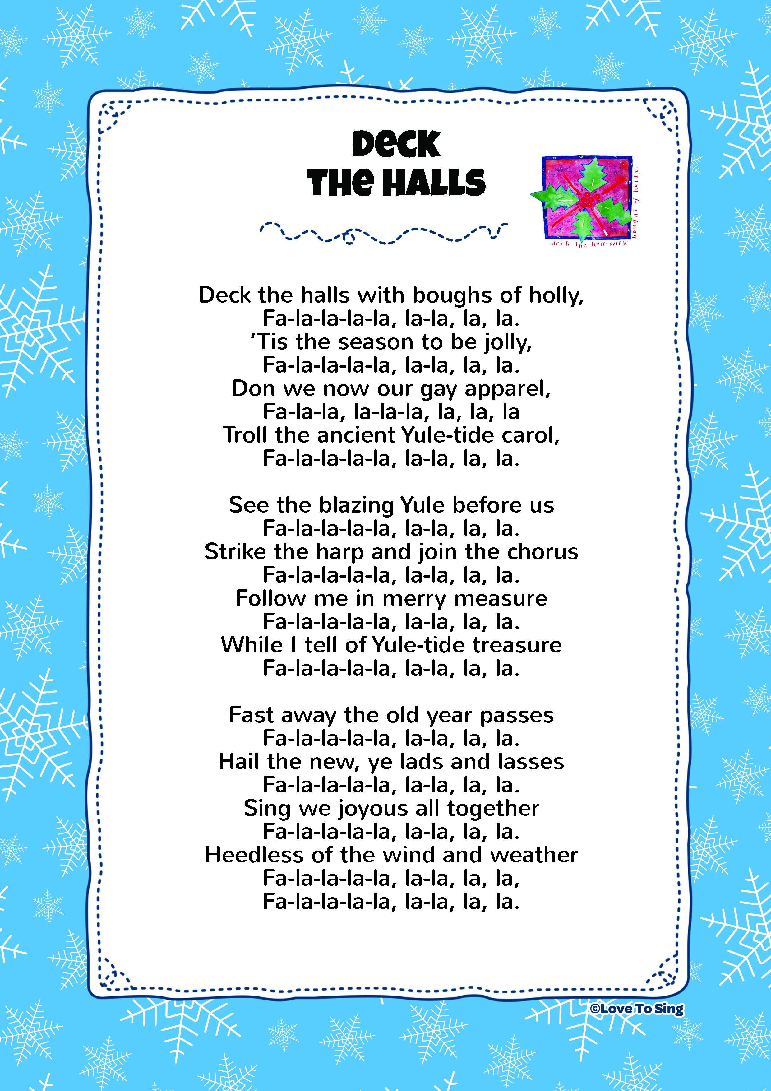 Deck The Hall Christmas songs lyrics, Christmas lyrics