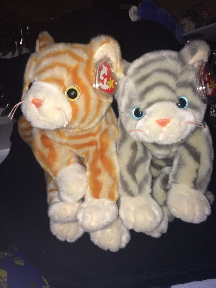 Vintage Amber   Silver Striped Cats 1999 Plush Ty Beanie Buddies 10
