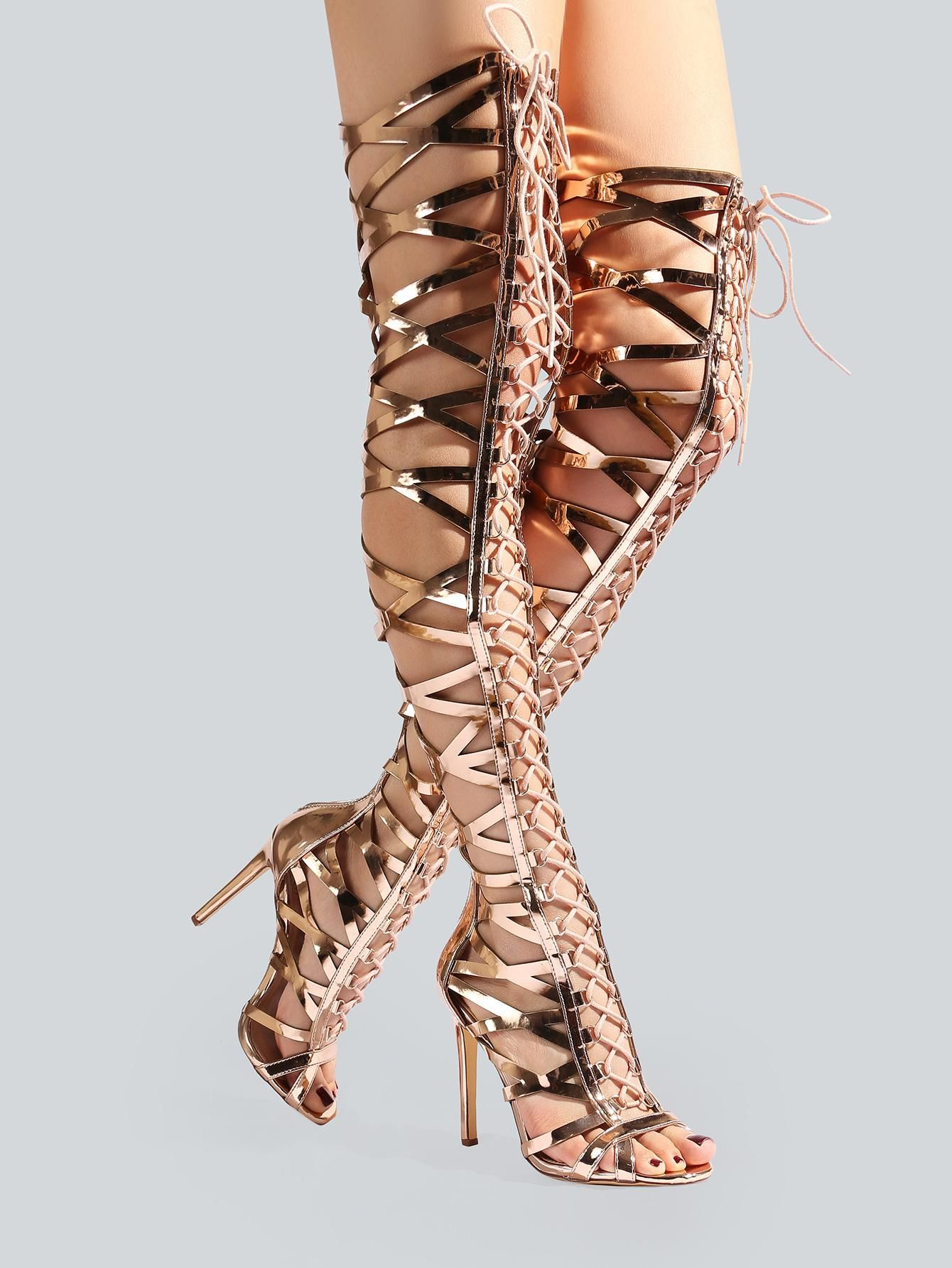 de8ed53f9600 MakeMeChic - MAKEMECHIC Metallic Caged Thigh High Heels ROSE GOLD -  AdoreWe.com