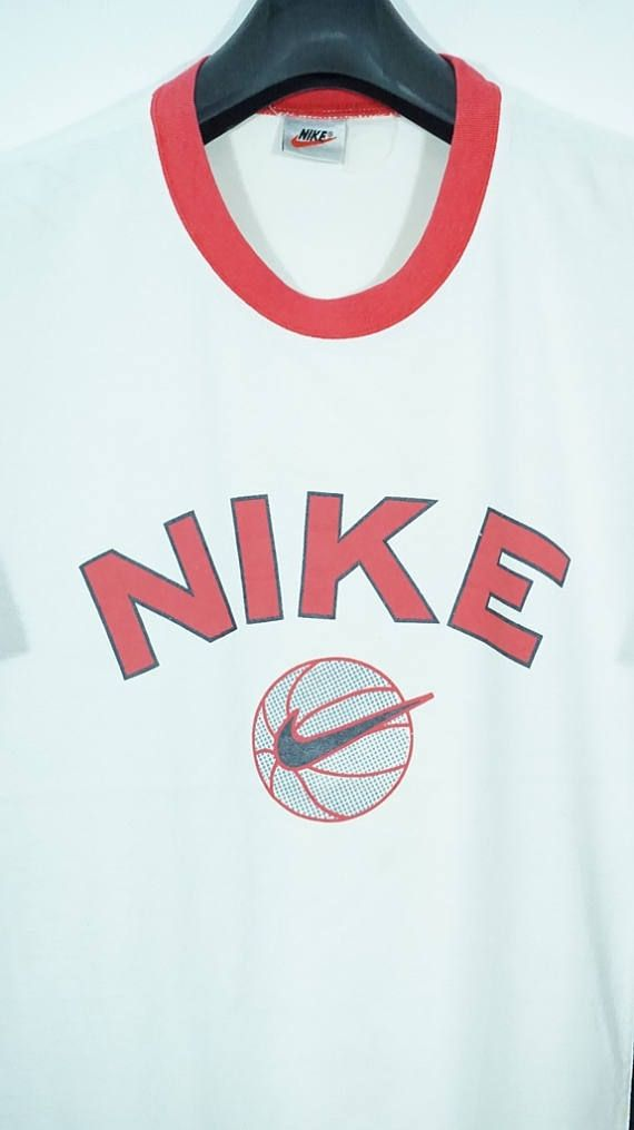 7880b55452a1 Vintage 90s Nike Basketball Swoosh T shirt Size Medium Large Hip hop Rap  Swag Runners Run Vtg Jordan