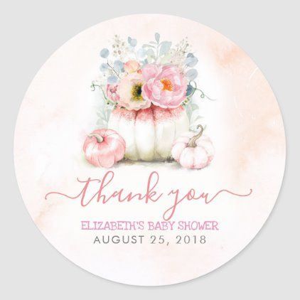 Pink Pumpkins Floral Fall Baby Shower Thank You Classic Round Sticker | Zazzle.com