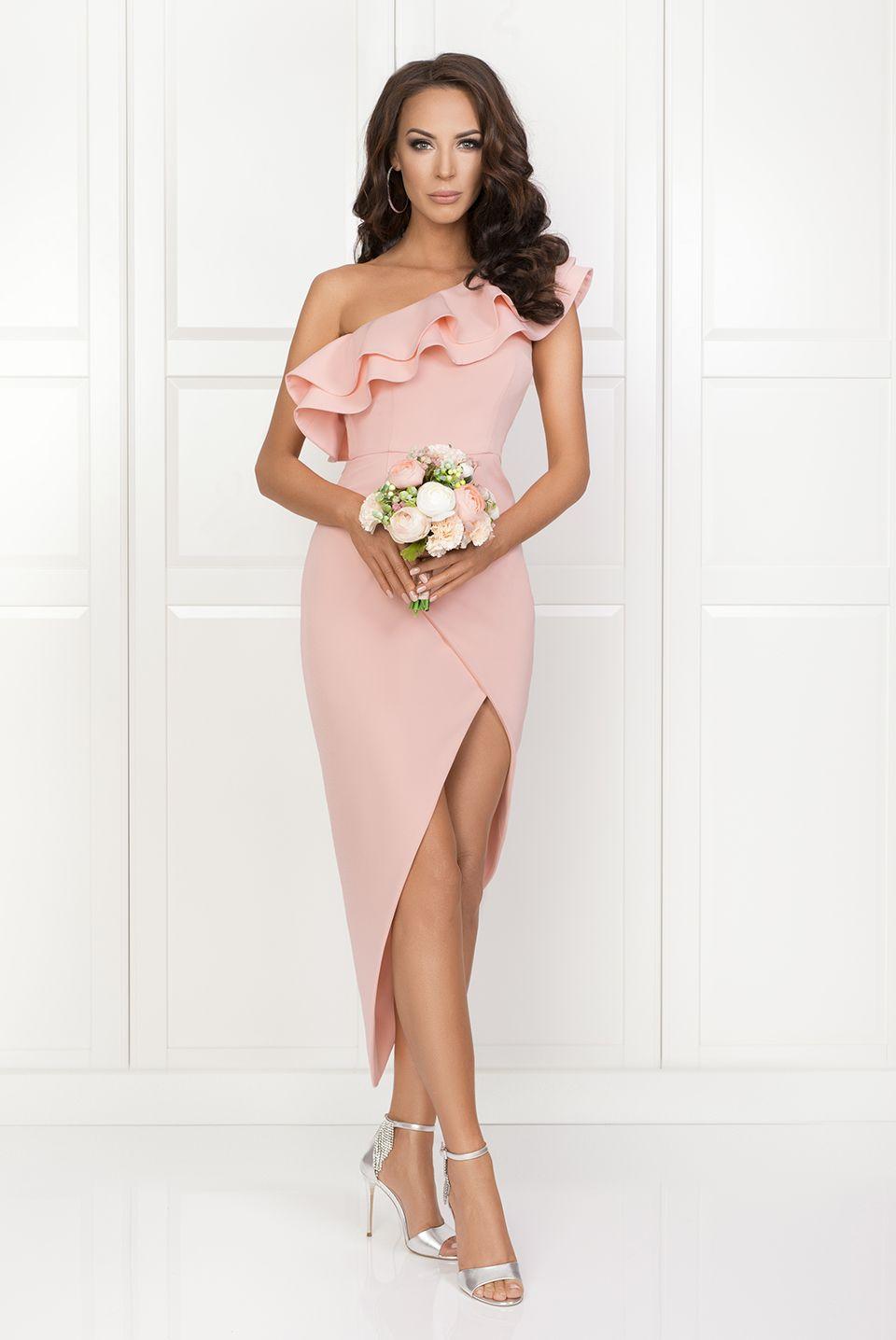 Agnes Pudrowy Róż W 2019 Wiosnalato 2018 Dresses Shoulder