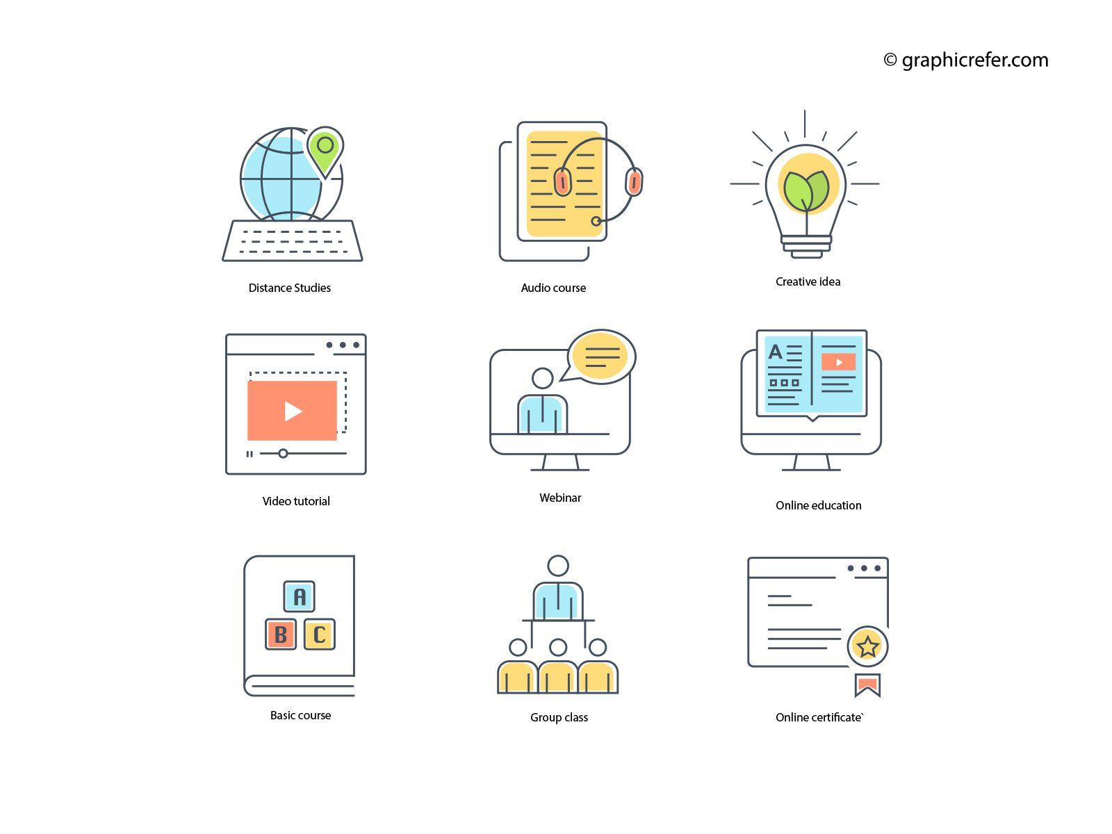 Free Online Course Icons Education Icon Set Education Icon