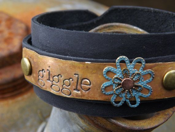 Custom Stamped Bracelet ... Weathered Brass with Layered Turquoise and Brass Flower on Leather Wrap Around Cuff