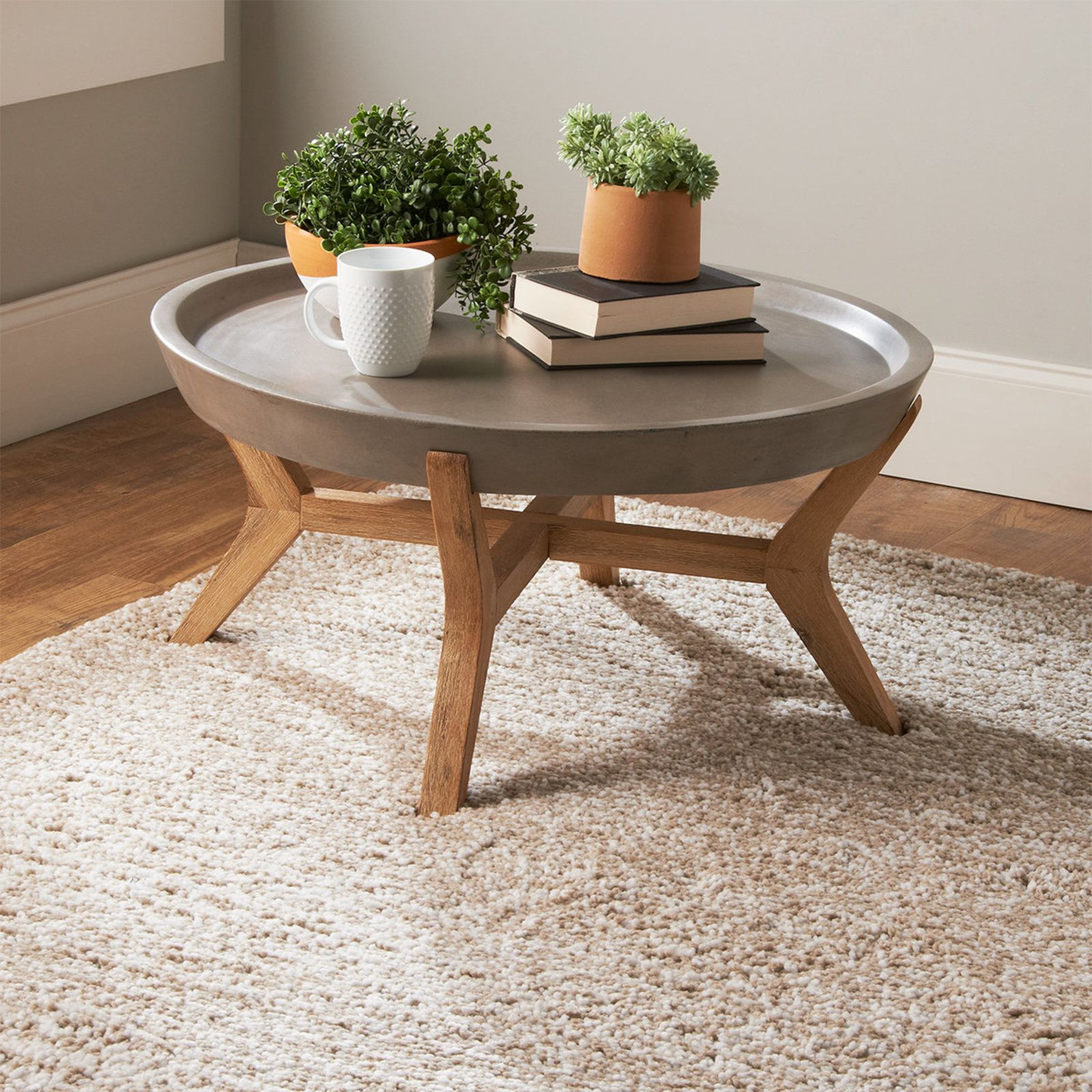 Round Concrete Tray Coffee Table In 2020 Round Wood Coffee Table