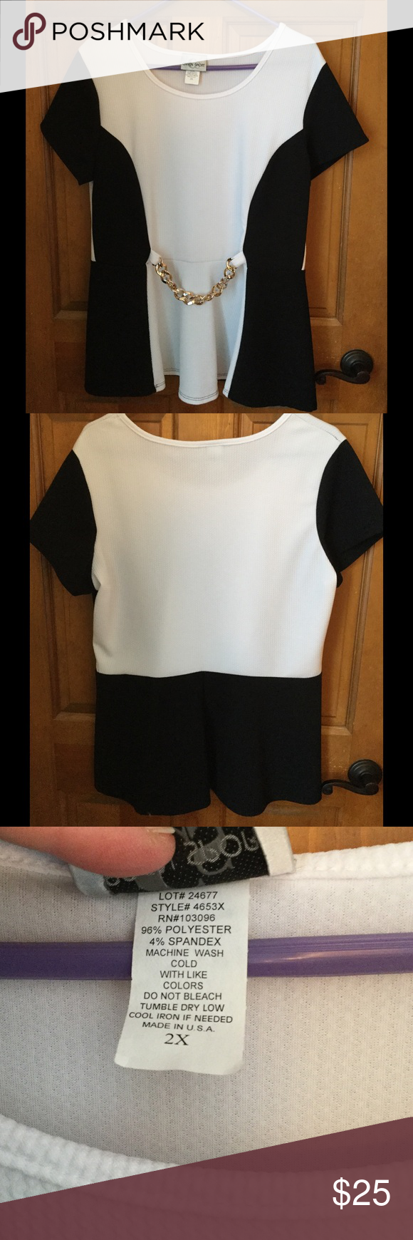 2X Black and white top, never worn. Never worn black and white top with attached gold colored belt. It would be roomier for a 1X. Polyester and spandex Tops Tees - Short Sleeve