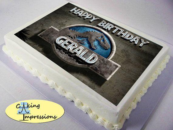 Jurassic World Logo Edible Image Cake Topper 950 USD Via Etsy