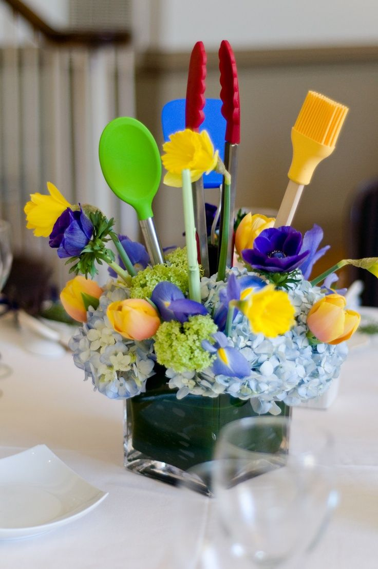 kitchen themed bridal shower centerpieces
