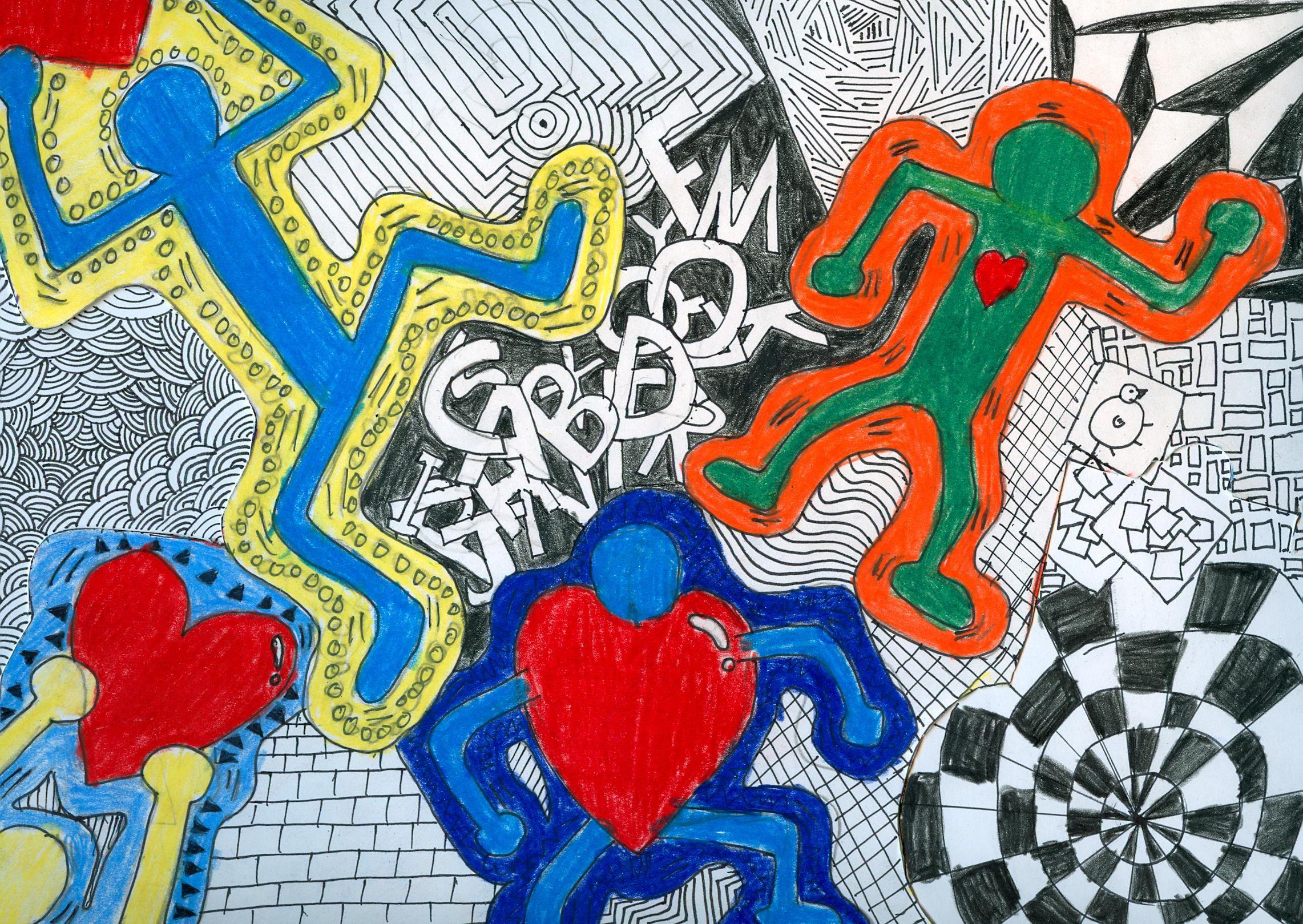 Albert S 7th Grade Keith Haring Inspired Drawing