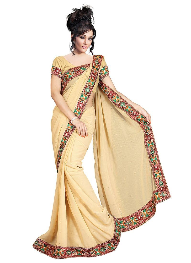 Saree blouse design for chiffon saree winsome cream chiffon saree  saris  pinterest
