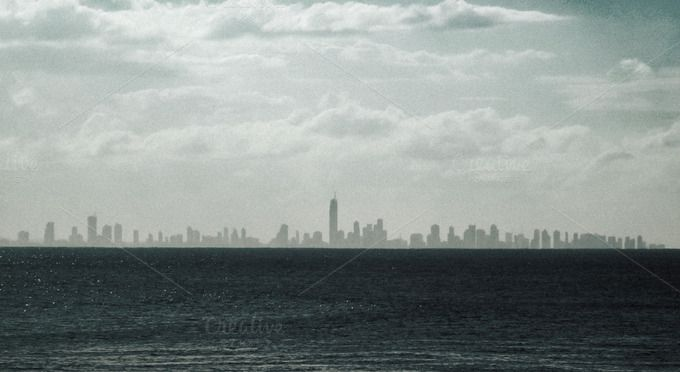 City Skyline Over Water by Rustic Apple Photos on Creative Market