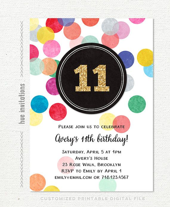 11th birthday party invitations for