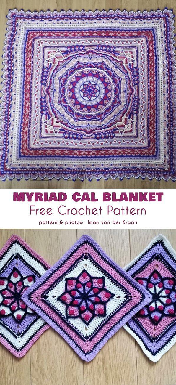 Myriad CAL Blanket Free Crochet Pattern #crochetmandalapattern