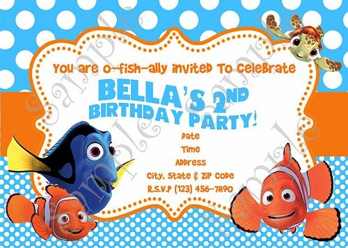 Nemo Invitation Finding Nemo birthday Nemo thank you card