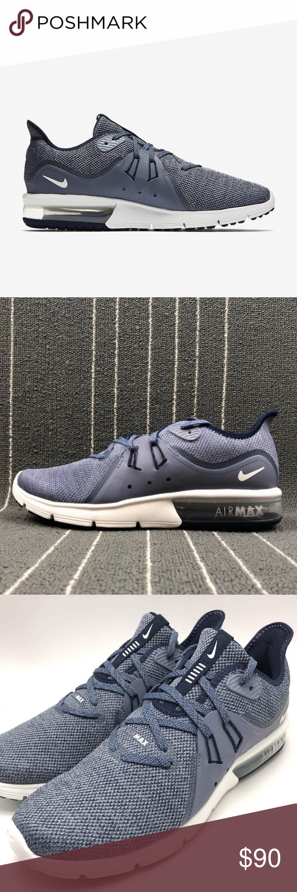 Men s Nike Air Max Sequent 3 (Size 10) Brand new in box 100% authentic  Excellent condition Size 10 Men Obsidian(blue)  Summit white color way  Ships doubled ... 915e9fd0a8