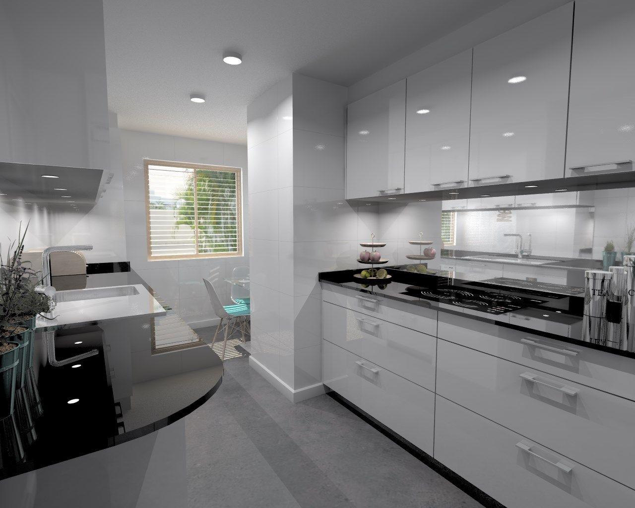 Cocina santos modelo plano laminado blanco brillo con for Encimera de cocina lacada en blanco negro