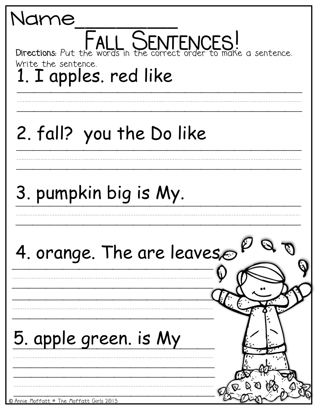 medium resolution of Fix up that Fall Sentence and so much more!   First grade writing