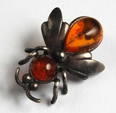 Vintage Natural Amber Fly Brooch Sterling