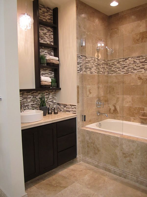 Travertine And Stone Glass Mixed Mosaic Bathroom