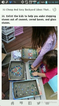 Photo of A fun project for kids or a good cheap idea for a walking path in the garden and…