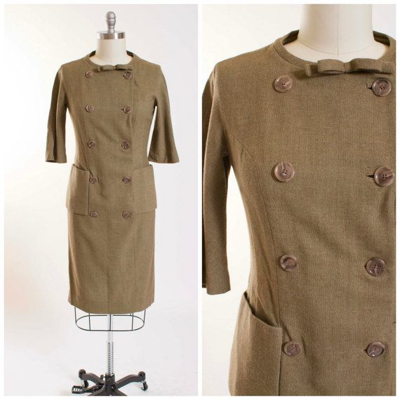 1960s Vintage Dress Khaki Green Double Breasted Vintage 60s Dress Textured Wool with Large Pockets Size Medium