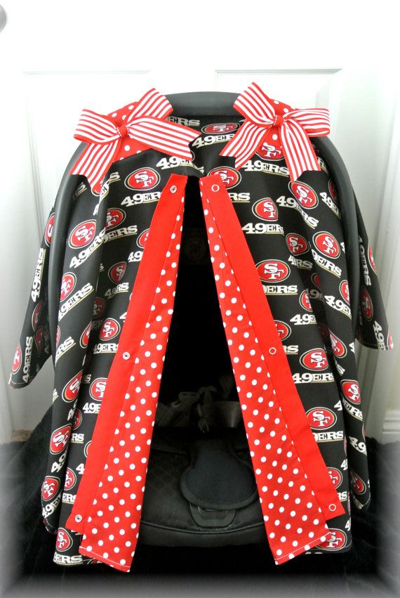 car seat canopy car seat cover 49ers red black by JaydenandOlivia $43.99  sc 1 st  Pinterest & car seat canopy car seat cover 49ers red black football San ...