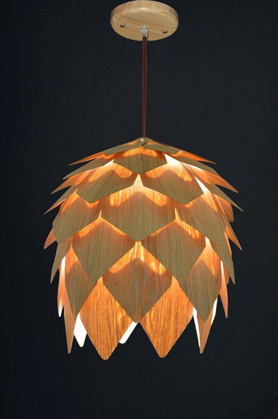 wood pendant hanging lighting unique set of 2 mini pine cone light