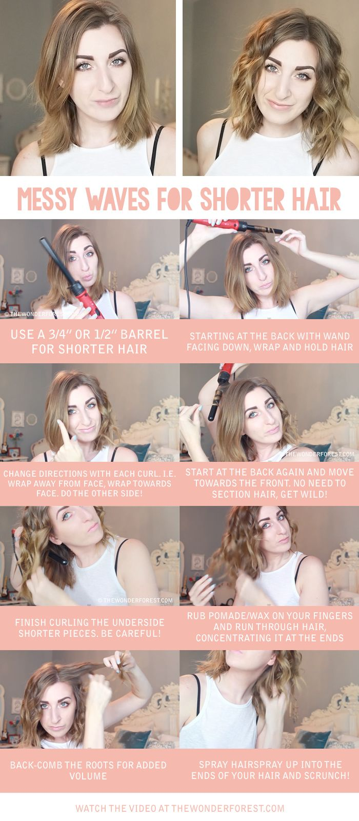 Messy Waves For Short Or Medium Length Hair Tutorial Hairstyles