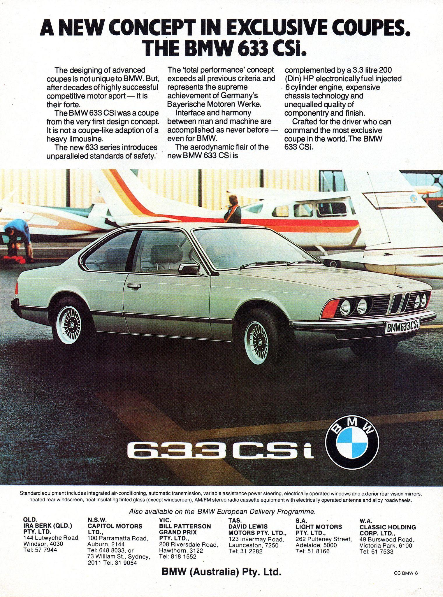 1977 Bmw 633 Csi Coupe Aussie Original Magazine Advertisement Bmw Bmw E24 Bmw Alpina