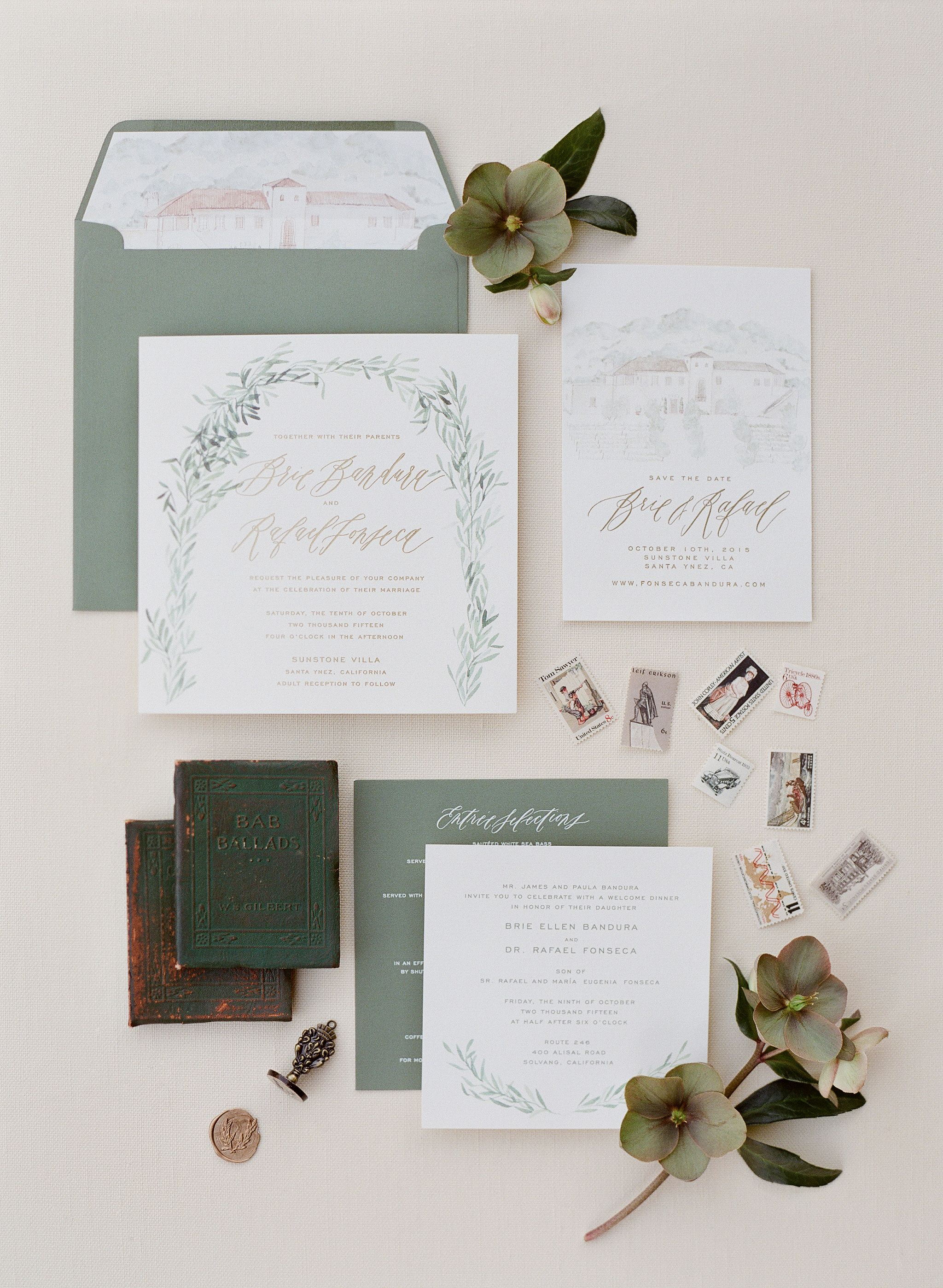 Calligraphy and Design by: Written Word Calligraphy // Watercolor Wedding Invitations // Sunstone Winery Wedding // Destination Weddings // Details // Vintage Stamps // Sage Olive Colors